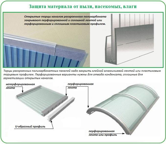 Как закрыть торцы сотового поликарбоната от влаги и пыли