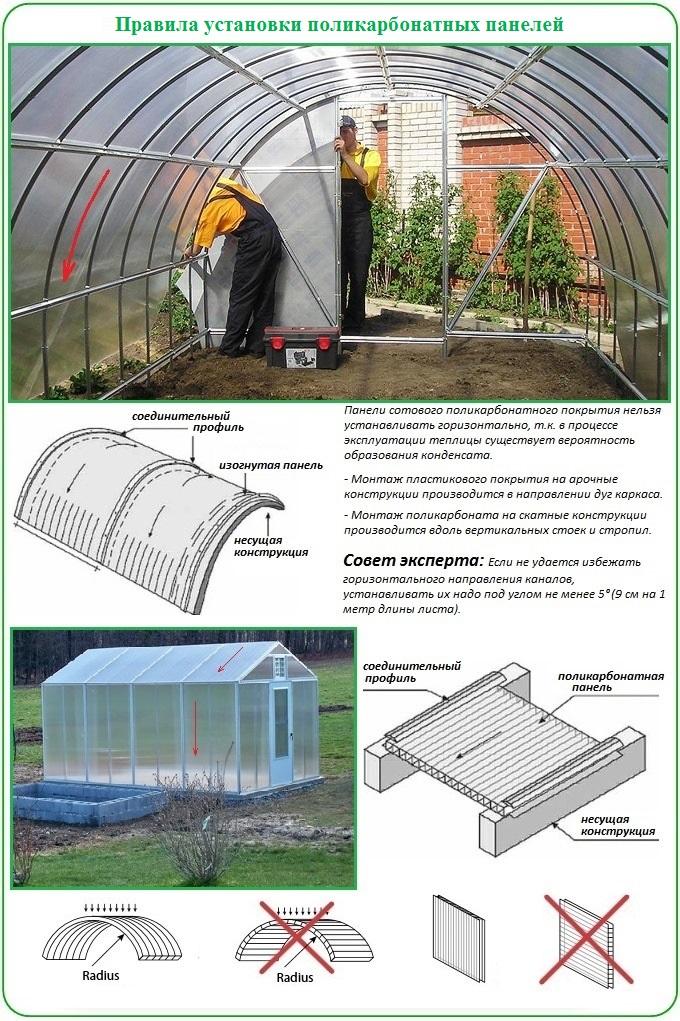 Как надо располагать панели поликарбоната для покрытия теплицы