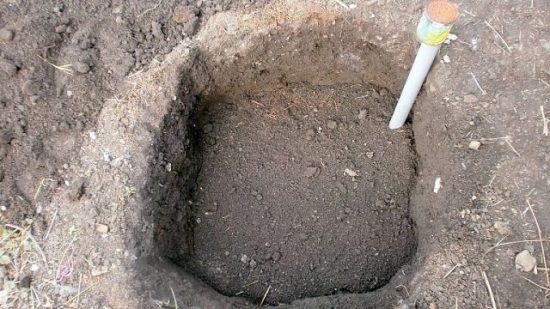 Заполнение посадочной ямы питательной почвосмесью