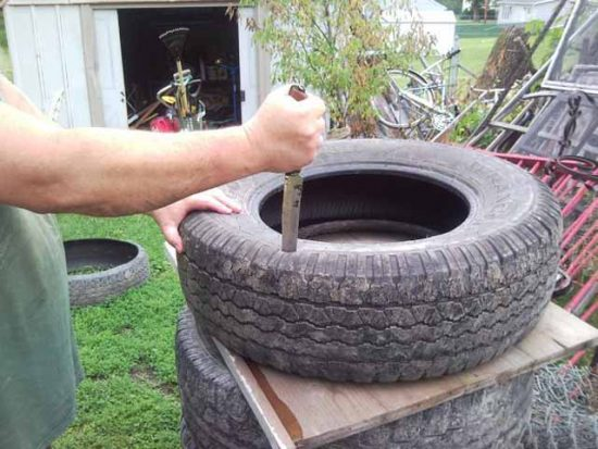 Срезание верхней части шины