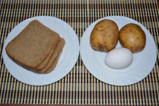 Хлеб, картофель и яйца