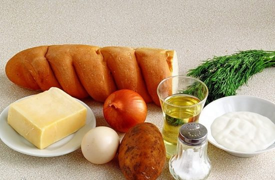 Батон, овощи, зелень и сыр